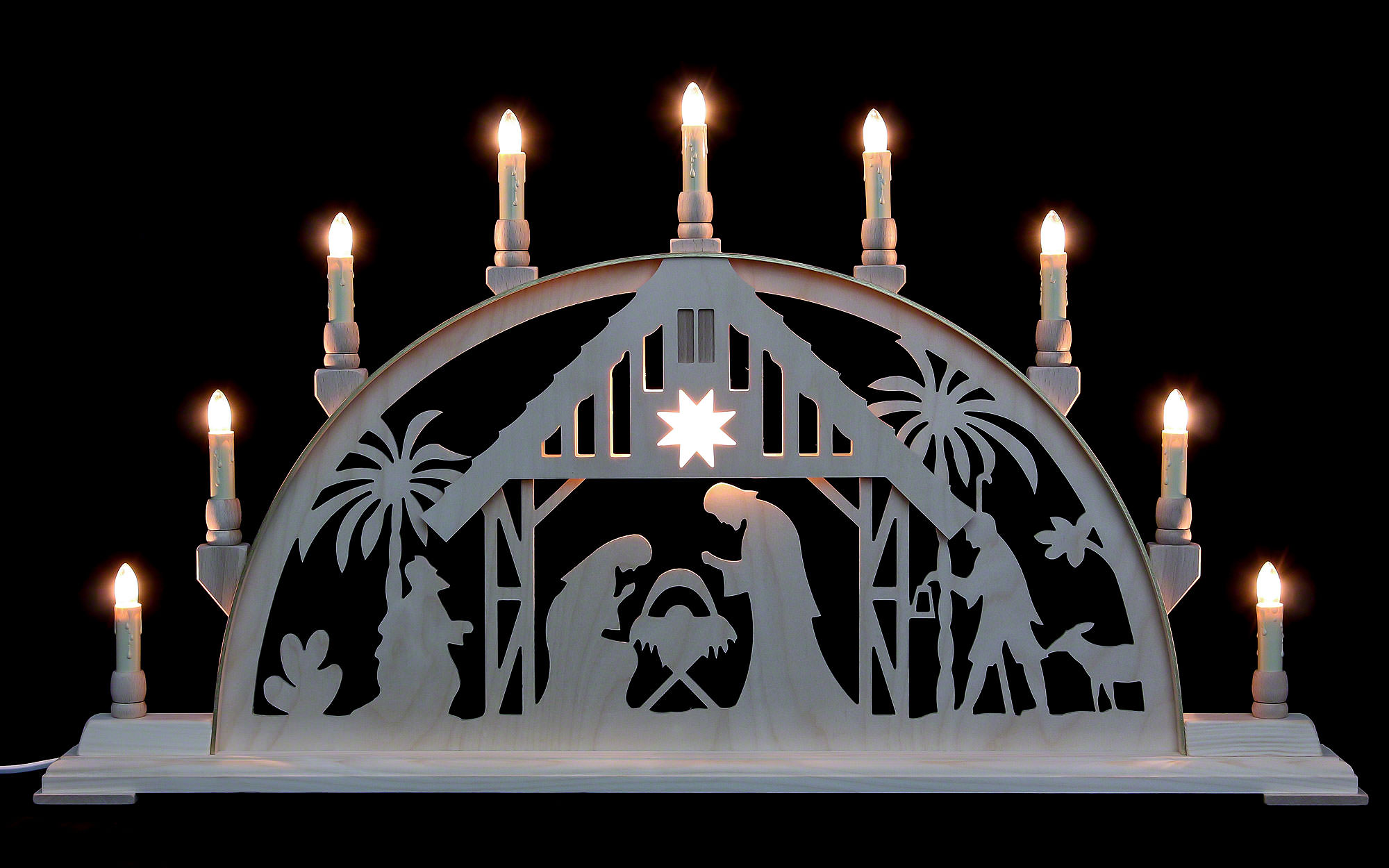 Candle Arch Nativity Scene With Light 78cm X 42cm 31