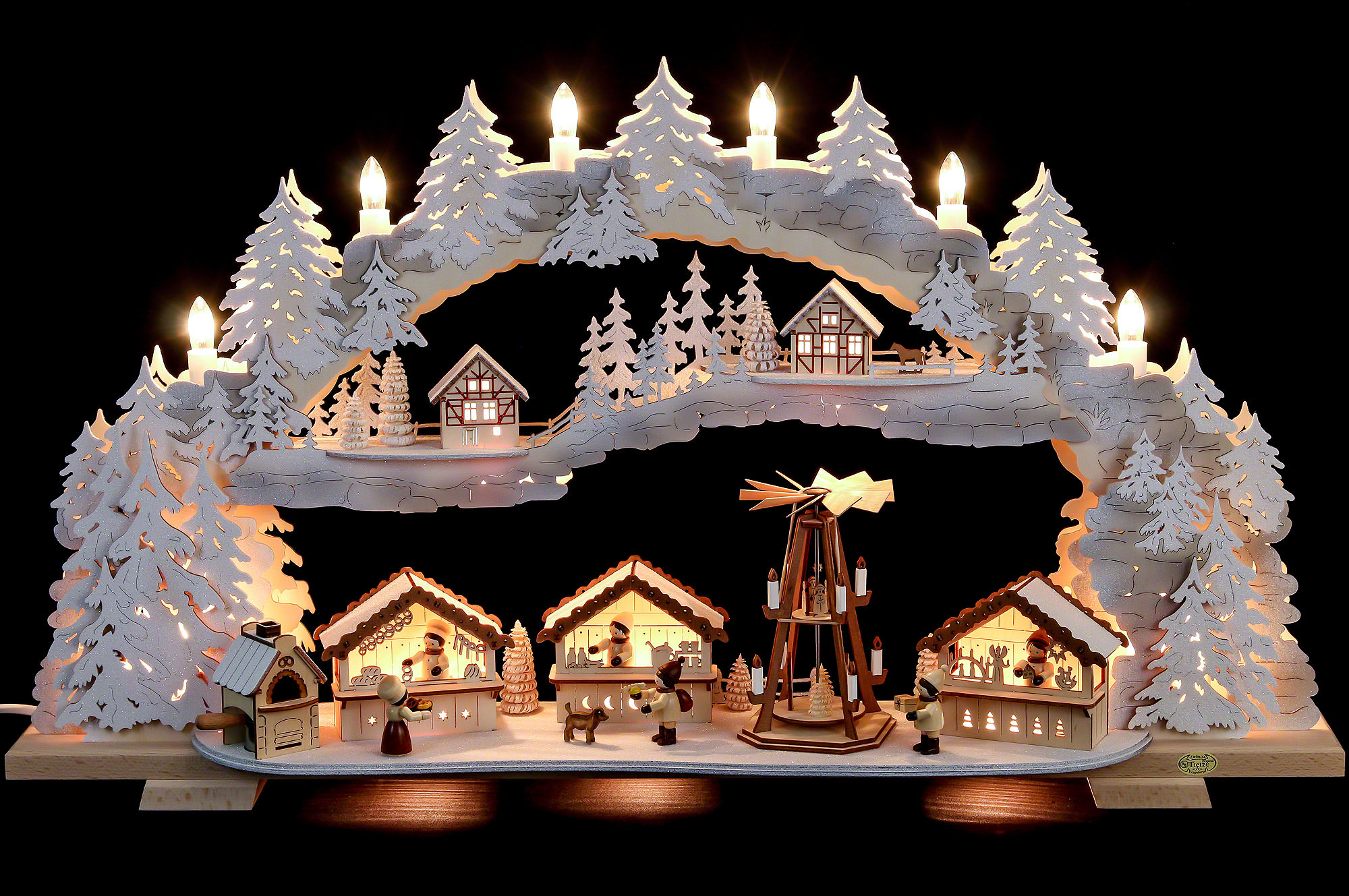 Candle arch christmas market with snow variable for Arch candle christmas decoration