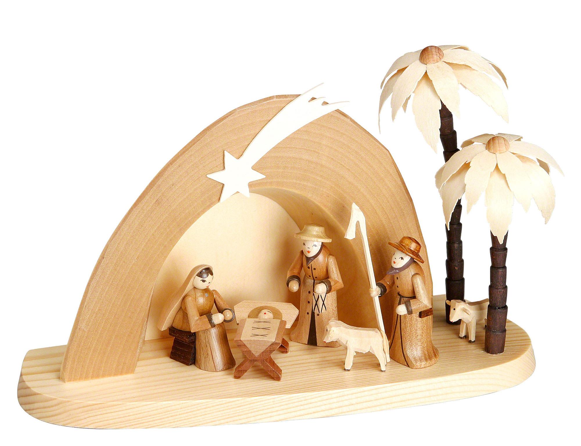 Weihnachtskrippe grotte 15cm von theo lorenz - Krippe modern holz ...