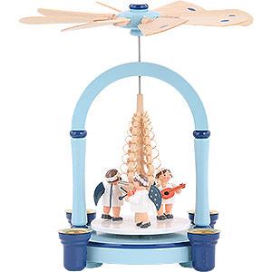 Christmas-Pyramids 1-tier Pyramids 1-Tier Christmas Pyramid - Angel Music Blue - 21 cm / 8 inch
