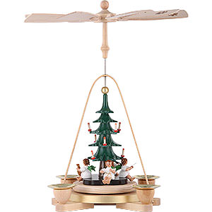 Christmas-Pyramids 1-tier Pyramids 1-Tier Pyramid - Angel with Christmas Tree - 28 cm / 11 inch