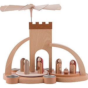 Weihnachtspyramiden 1-stöckige Pyramiden 1-stöckige Moderne Weihnachtspyramide Christi Geburt für Teelichter - 33cm