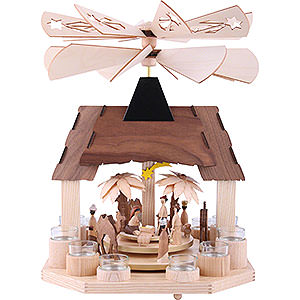 Weihnachtspyramiden 1-stöckige Pyramiden 1-stöckige Pyramide Christi Geburt mit zwei Flügelrädern - 41cm