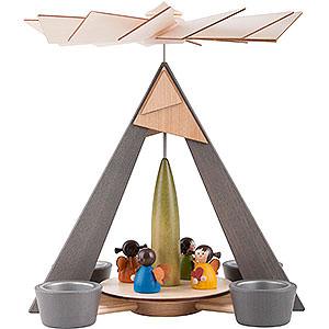 Weihnachtspyramiden 1-stöckige Pyramiden 1-stöckige Pyramide Engelchen bunt - 29 cm