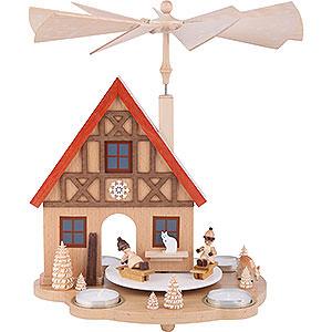Weihnachtspyramiden 1-stöckige Pyramiden 1-stöckige Pyramide Haus mit Winterkindern für Teelichter - 29cm