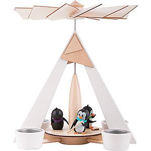 Weihnachtspyramiden 1-stöckige Pyramiden 1-stöckige Pyramide Pinguine weiß - 29 cm