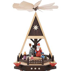 Weihnachtspyramiden 1-stöckige Pyramiden 1-stöckige Pyramide Weihnachtsmann mit Kindern - 33cm