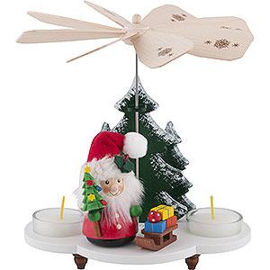 Weihnachtspyramiden 1-stöckige Pyramiden 1-stöckige Pyramide Weihnachtsmann mit Schlitten - 19,5cm