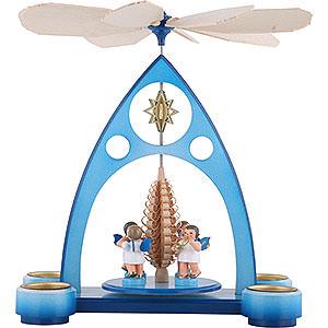 Weihnachtspyramiden 1-stöckige Pyramiden 1-stöckige Pyramide blau mit bunten Engeln mit Blasinstrumenten - 39x30,6x19cm