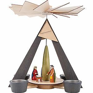 Weihnachtspyramiden 1-stöckige Pyramiden 1-stöckige Pyramide mit Christi Geburt, grau - 29cm