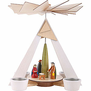 Weihnachtspyramiden 1-stöckige Pyramiden 1-stöckige Pyramide mit Christi Geburt, weiß - 29cm