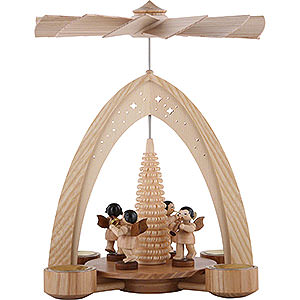 Weihnachtspyramiden 1-stöckige Pyramiden 1-stöckige Pyramide mit Engeln natur mit Blasinstrumenten - 35x26,2x22,8cm