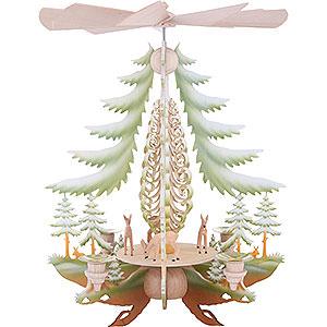 Weihnachtspyramiden 1-stöckige Pyramiden 1-stöckige Pyramide mit geschnitzten Rehen, farbig - 35cm