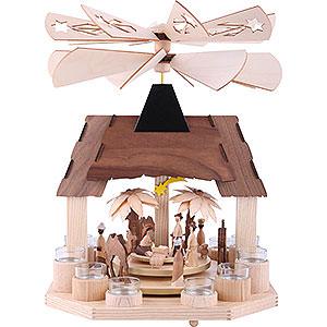 Weihnachtspyramiden 1-stöckige Pyramiden 1-stöckige Teelichtpyramide Christi Geburt mit zwei gegenläufigen Flügelrädern - 41cm