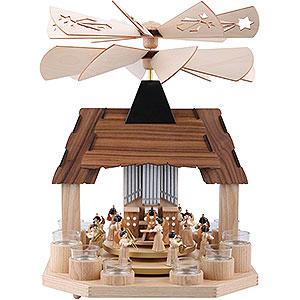 Weihnachtspyramiden 1-stöckige Pyramiden 1-stöckige Teelichtpyramide Engel mit zwei gegenläufigen Flügelrädern - 41cm