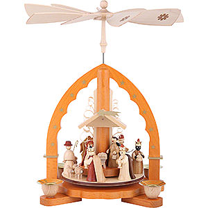 Christmas-Pyramids 1-tier Pyramids 1- tier Pyramid Nativity Scene natural wood - 11 inch - 27 cm