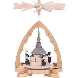 Christmas-Pyramids 1-tier Pyramids 1- tier Pyramid Seiffen church - 7 inch - 19 cm