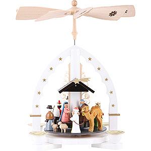 Christmas-Pyramids 1-tier Pyramids 1- tier Pyramid Three Wisemen - white - 11 inch - 27 cm