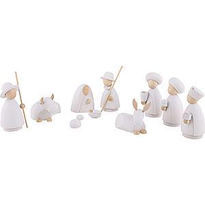 Kleine Figuren & Miniaturen Hennig-Krippe weiß/natur 10-teiliges Krippenset - modern weiß/natur - 10 cm