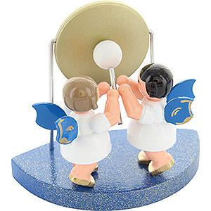Weihnachtsengel Engel - blaue Flügel - klein 2 Engel am großen Gong passend zu Wolkenstecksystem - Blaue Flügel - stehend - 6cm