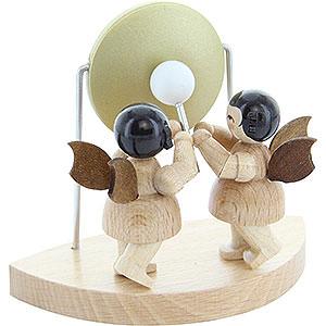 Weihnachtsengel Engel - natur - klein 2 Engel am großen Gong passend zu Wolkenstecksystem - natur - stehend - 6 cm