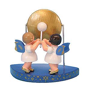 Weihnachtsengel Engel - blaue Flügel - klein 2 Engel am großen Gong passend zu einfachen Wolken - Blaue Flügel - stehend - 6cm