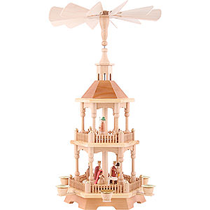 Christmas-Pyramids 2-tier Pyramids 2-Tier Pyramid - Nativity, Natural with Dark Roof 52 cm / 20.5 inch
