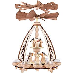 Weihnachtspyramiden 2-stöckige Pyramiden 2-stöckige Pyramide Engel mit zwei gegenläufigen Flügelrädern - 43 cm