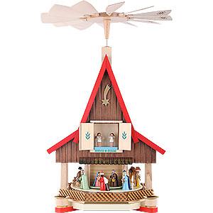 Christmas-Pyramids 2-tier Pyramids 2- tier Adventhouse - Nativity Scene - 21 inch - 53 cm