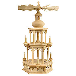 Christmas-Pyramids 2-tier Pyramids 2-tier Pyramid - blank - without figurines, Star motif - 73 cm / 29 inches