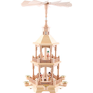 Christmas-Pyramids 2-tier Pyramids 2-tier pyramid Nativity, natural with light roof 52cm / 20.5inch