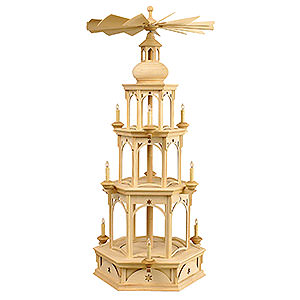 Christmas-Pyramids 3-tier Pyramids 3-Tier Pyramid - Blank without Figurines, Star Motif - 100 cm / 39 inch