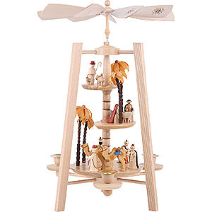 Christmas-Pyramids 3-tier Pyramids 3-Tier Pyramid - Nativity Scene - Natural Wood - 40 cm / 16 inch