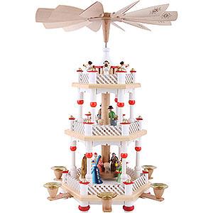 Christmas-Pyramids 3-tier Pyramids 3-Tier Pyramid - Nativity Scene White - 40 cm / 16 inch