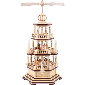 Weihnachtspyramiden 3-stöckige Pyramiden 3-stöckige Pyramide - Heilige Geschichte - 58 cm - 120 V Elektromotor (US-Norm)