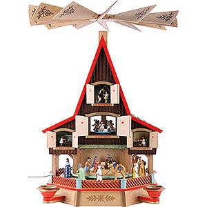 Weihnachtspyramiden 3-stöckige Pyramiden 3-stöckiges Adventshaus Krippe und Fenster, elektrisch beleuchtet - 62 cm