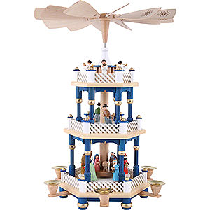 Christmas-Pyramids 3-tier Pyramids 3- tier Pyramid Nativity Scene blue - 16 inch - 40 cm