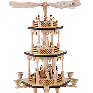 Christmas-Pyramids 3-tier Pyramids 3- tier Pyramid Nativity Scene - natural wood - 15 inch - 38 cm