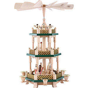 Christmas-Pyramids 3-tier Pyramids 3- tier Pyramid Nativity Scene natural wood - 16 inch - 40 cm