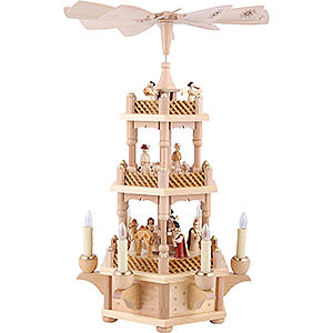 Christmas-Pyramids 3-tier Pyramids 3- tier Pyramid Nativity Scene natural wood - 18 inch - 45 cm