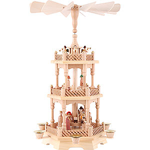 Christmas-Pyramids 3-tier Pyramids 3-tier pyramid Nativity, natural 49cm / 19.5inch