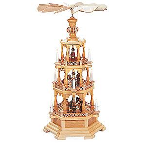 Christmas-Pyramids 3-tier Pyramids 3-tier pyramid - The Christmas Story - 100 cm / 39 inch - 120 V electr. motor (US-standard)