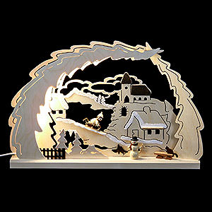 Candle Arches Fret Saw Work 3D Candle Arch Sleigh ride - 41x27x4,5cm / 16x11x1.7inch