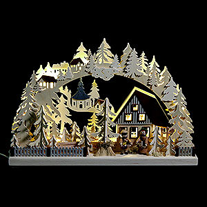 Candle Arches Fret Saw Work 3D-Candle Arch Striezel children and fir trees - 42x30cm / 17x12inch