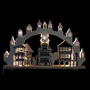 Schwibbögen Laubsägearbeiten 3D-Doppelschwibbogen - Altstadt mit Innenbeleuchtung - 66 x 43 x 6cm