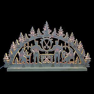 Schwibbögen Laubsägearbeiten 3D-Doppelschwibbogen - Bergmann - 72 x 40 x 5,5 cm