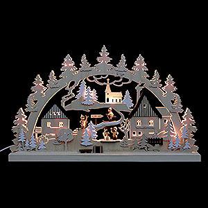 Schwibbögen Laubsägearbeiten 3D-Doppelschwibbogen - Erzgebirgsdorf - 62 x 37 x 5,5 cm