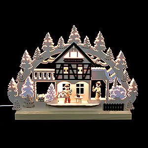 Schwibbögen Laubsägearbeiten 3D-Doppelschwibbogen - Holzkunstwerkstatt - 42 x 30 x 4,5 cm