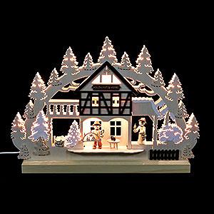Schwibbögen Laubsägearbeiten 3D-Doppelschwibbogen Holzkunstwerkstatt - 42x30x4,5 cm