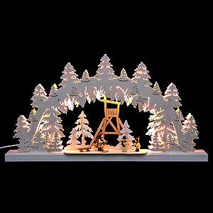 Schwibbögen Laubsägearbeiten 3D-Doppelschwibbogen - Jägerstand - 62 x 33 x 5,5 cm